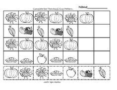 Thanksgiving Worksheet to practice AB, ABBA patterns. Thanksgiving Worksheets, Thanksgiving Preschool, Thanksgiving Ideas, Preschool Kindergarten, Teaching Math, Teaching Ideas, Fun Math, Maths, Pattern Worksheet