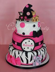 Pink, Black & White Zebra & Dots Cake with Zoo Animals (Ariana) Sweet Cakes, Cute Cakes, Birthday Cake Girls, Birthday Cakes, Birthday Ideas, 2nd Birthday, Birthday Parties, Dusty Cake, Cake Pops