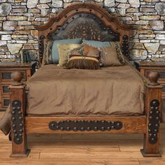 Cabin Furniture, Western Furniture, Furniture Decor, Bedroom Furniture, Leather Bed, Leather Pillow, Leather Tooling, Tooled Leather, Southwest Bedroom