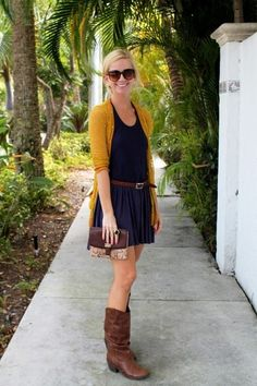 I don't usually go for mustard, but with the navy dress, it looks so polished but still boho chic! Oh my so cute!!!