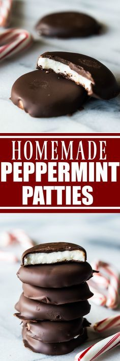 Homemade Peppermint Patties! Never buy these again! So easy to make, only a handful of ingredients needed! Perfectly cool peppermint center encased in decadent dark chocolate.