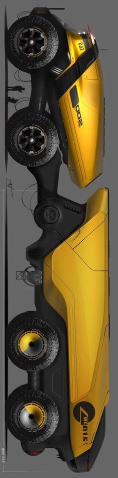 미래형 트레일러 스케치입니다 벌레가 연상되는 디자인으로 전체적으로 유선형을 띄고 있으며 범블비가 생각나는 옐로우 컬러입니다
