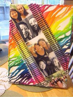 Melted crayons with pictures
