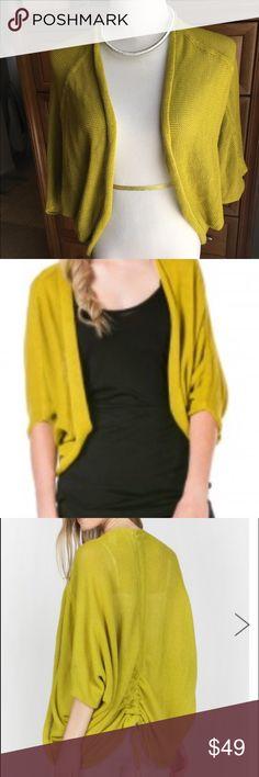 Miilla 1/2 SLEEVE COCOON SHAWL NWT Miilla 1/2 SLEEVE COCOON SHAWL NWT in kiwi yellow           55 % LINEN, 45 % COTTON Miilla Clothing Sweaters Cardigans