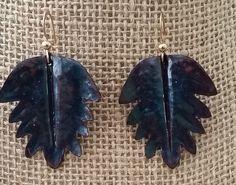 Copper  enamel earrings with goldfield hook by Lindagezzini on Etsy