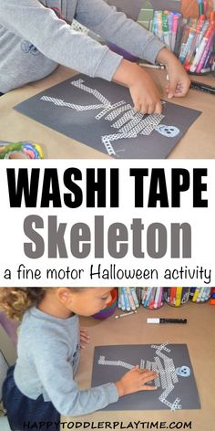 Washi Tape Skeleton - HAPPY TODDLER PLAYTIME Washi Tape Skeleton craft is a fun Halloween activity that is great for toddlers and big kids! Create a skeleton using washi tape! #halloweenactivities #halloweencrafts #halloweencraftsforkids