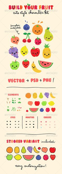 Fruit Character Creation Kit #GraphicRiver This pack contains: - 14 pre-designed characters (