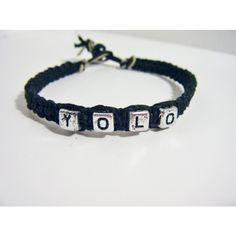 Black YOLO Hemp Macrame Bracelet ❤ liked on Polyvore