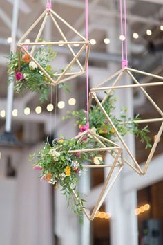 suspended copper geometric shaped wedding decor - brides of adelaide