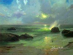 """Pacific Nocturne1984      """"I painted Pacific Nocturne on the occasion of my second wedding anniversary, when Nanette and I re-visited our honeymoon hideaway. The romantic seascape displays my growing passion for capturing effects of light.""""  -Thomas Kinkade"""