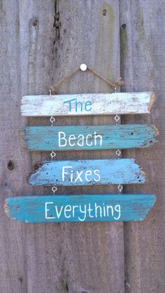 Driftwood Sign - Painted - The beach fixes everything on Etsy, $29.99