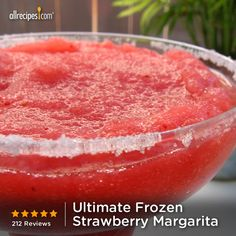 Ultimate Frozen Strawberry Margarita | A near perfect strawberry margarita with frozen strawberries and limeade concentrate.