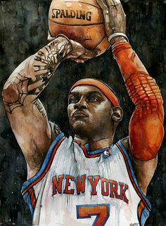 Carmelo Anthony watercolor by Michael Pattison.