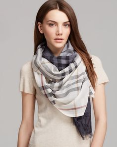 Burberry Ombre Gauze Giant Check Scarf