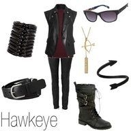 All black with a purple shirt for Hawkeye?