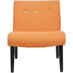 Mandell Chair in Orange design by Safavieh (22.685 RUB) ❤ liked on Polyvore featuring home, furniture, chairs, safavieh home furniture, button chair, safavieh chairs, safavieh furniture and orange furniture
