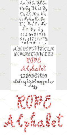Alphabet of rope. Script Fonts