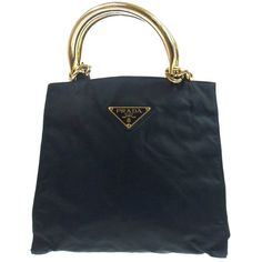 Pre-owned Prada Auth Logos Hand Tote Black Gold Nylon Leather Italy... (199.680 CLP) ❤ liked on Polyvore featuring bags, handbags, tote bags, brown, black leather purse, black leather handbags, brown leather tote, vintage leather purse and vintage leather tote bag