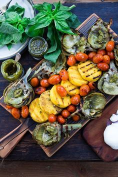 Grilled Artichokes and Polenta with Blistered tomatoes, pesto, capers and fresh basil-- served family style .perfect for a casual summer evening! Vegan and GF Grilled Polenta, Grilled Artichoke, Grilling Recipes, Healthy Grilling, Cherry Tomatoes, The Fresh, Whole Food Recipes, Dinner Recipes, Hcg Recipes