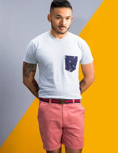 Pocket Tee for Men Salmon Twill Short