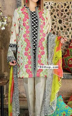 Ivory/Black Swiss Lawn Suit | Buy Charizma Pakistani Dresses and Clothing online in USA, UK