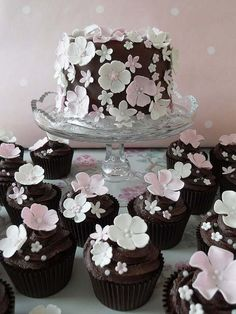 Chocolate Cake With Pink Little Flowers