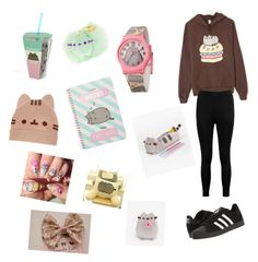 Pusheen Style by lily-gs on Polyvore featuring polyvore, fashion, style, Pusheen, Boohoo, adidas and clothing