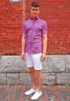 Vito Cotton Twill Straight Cut Shorts: $68  Johnny Love SS Check Shirt: $150 Luigi Sardo Classic Canvas Low Cut Shoe: $60