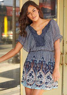Eleana Paisley Crochet Dress at Alloy