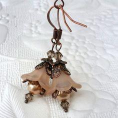 Lucite Flower Earrings Dangle Drop - Vintage Style - Copper - Cafe Latte, Light Brown