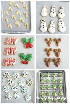 Make Christmas Spritz Cookies the easy way using a Wilton cookie press. Then decorate your snowflakes, holly leaves, bows, and more using candy melts. Christmas Food Treats, Christmas Baking, Christmas Cookies, Spritz Cookie Recipe, Spritz Cookies, Coconut Biscuits, Coconut Cookies, Reindeer, Snowmen