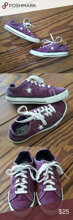 CONVERSE One Star sneakers purple suede Eggplant purple suede One Stars with leather stars on each side. Very gently worn and in great condition. Keep in mind that Converse tends to run big, so these fit close to a 6.5/7. Comes from a pet and smoke free home. Remember to bundle and save! Converse Shoes Sneakers