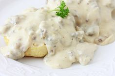 Creamy, smooth, velvety sausage gravy served over hot, fluffy buttermilk biscuits. This recipe is quick, simple, and FULL of flavor!