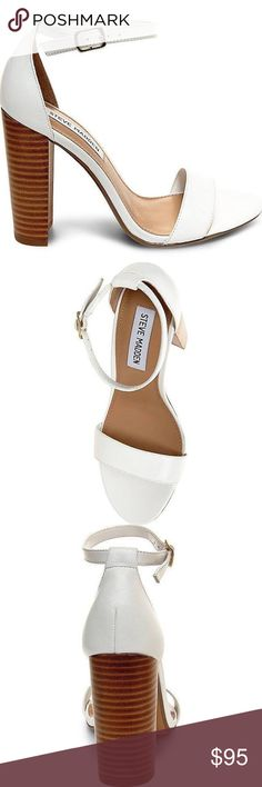 •Steve Madden Carrson White Leather Heels• • Brand new with box! • Authentic and only tried on! • Chunky heel style👡 • NO trades! • Price is firm @ $95! • NO returns! Steve Madden Shoes Heels