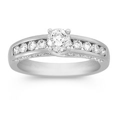This mounted diamond ring is set in white gold.