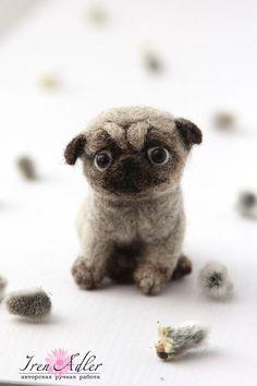 Pug puppy miniature felt figirine dog pug needle by FeltPetsShop