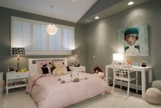 Grey and pink for a girl's room