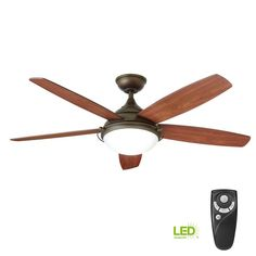 Home Decorators Collection Gramercy 52 In Led Indoor Espresso Bronze Ceiling Fan With Light Kit And Remote Control