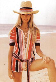 Vintage 1970s Crochet Pattern Sexy Striped Beach by scarlettess. , via Etsy.