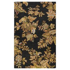 Add a lovely touch to your living room or den with this hand-tufted wool rug, showcasing a botanical motif in black.    Product: Ru...