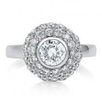 Sterling Silver Round Cubic Zirconia CZ Flower Fashion Ring