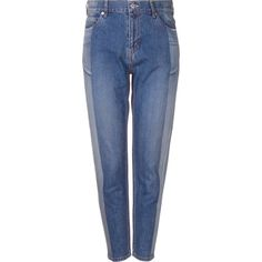 Serge De Blue two-tone tapered jeans (985 PLN) ❤ liked on Polyvore featuring jeans, blue, tapered cut jeans, two tone jeans, tapered fit jeans, tapered jeans and blue jeans