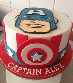 Captain America Birthday Cake - Visit to grab an amazing super hero shirt now on sale! Avengers Birthday, Superhero Birthday Party, Boy Birthday Parties, 5th Birthday, Captain America Birthday Cake, Captain America Party, Pastel Capitan America, Racing Cake, Number Birthday Cakes