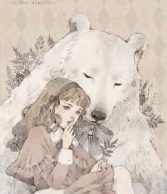 "Beautiful work by Loputyn, ""Winter Memories"" . Scrapbook Images, Fairy Drawings, Cute Art Styles, Photoshop, Fairytale Art, Lowbrow Art, Epic Art, Cute Animal Drawings, Detail Art"
