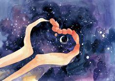 Moon Art, Aesthetic Art, Ravenclaw, Cute Art, Art Inspo, Art Reference, Watercolor Art, Tarot, Fantasy Art