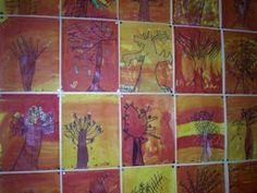 Herfstbomen met zwarte stift en inkleuren met ecoline in herfstkleuren..