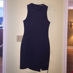 Soprano boutique navy dress. Super cute/classy, navy blue designer dress. It is made by Soprano. I have worn it one time. It is practically brand new. In perfect condition. Easily worn in the winter with a cute jacket and boots or in the summer with sanders or heels. Soprano Dresses Midi