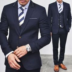 Suits :: Luxurious Designer Leather Trim Slim Navy 3pcs Suit - suit 03 - New and Stylish - Fast Mens Fashion - Mens Clothing - Product