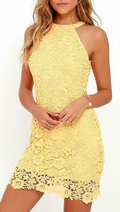 2016 Custom Charming Yellow Lace Homecoming Dress,Sexy Halter Evening Dress…
