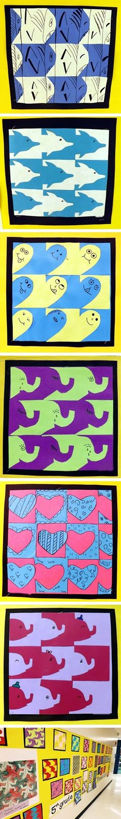 love the graphic quality of these. Easy Tessellations (sort of) inspired by Escher. construction paper, glue, sharpie.
